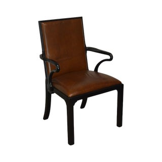 George II Style Quality Brown Leather Armchair For Sale