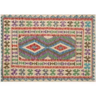 "Nalbandian - Contemporary Afghan Maimana Kilim - 3'5"" X 4'9"" For Sale"
