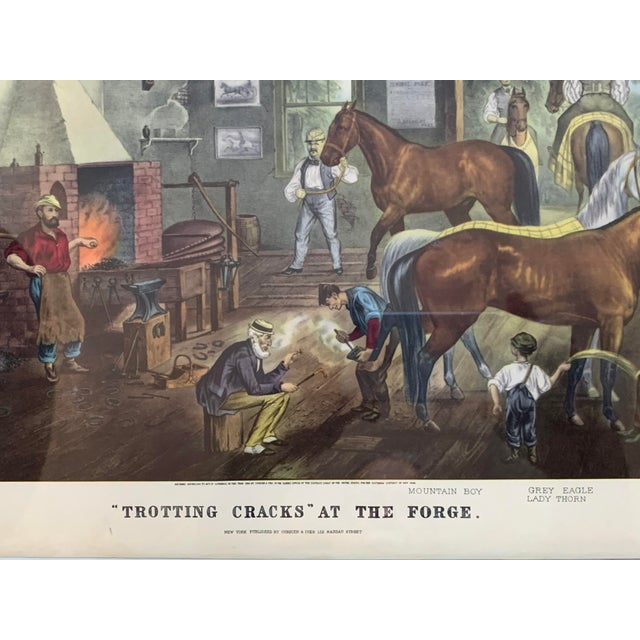"American Mid-19th Century ""Trorting Gracks at the Forge"" Print by Currier & Ives, Framed For Sale - Image 3 of 10"