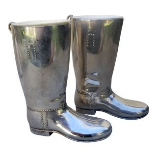 Metal Boot Alcohol Bar Shot Glasses - a Pair For Sale