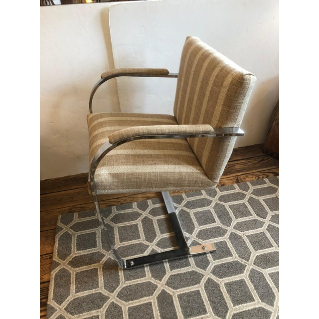 Mid-Century Modern 1980s Vintage Chrome & Upholstered Mid Century Modern Armchairs- A Pair For Sale - Image 3 of 11