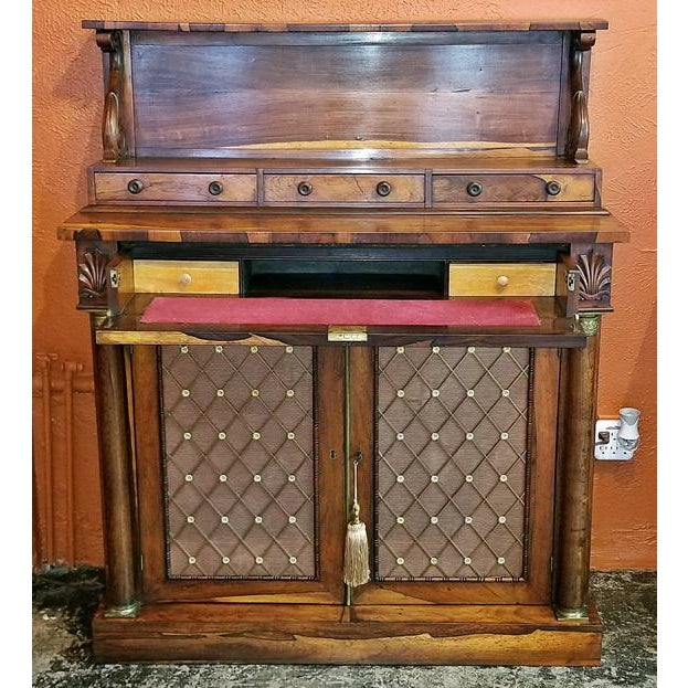 Satinwood 18c British Regency Bureau Secretaire Chiffonier in the Manner of Gillows For Sale - Image 7 of 13