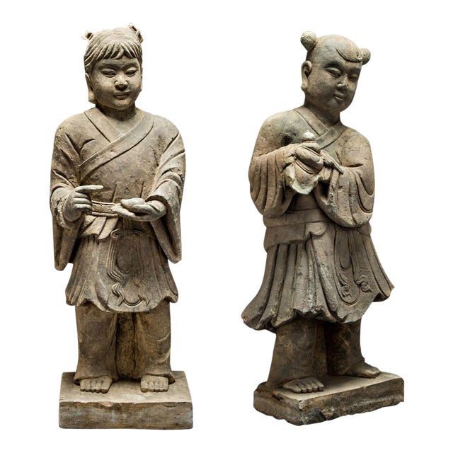 Pair of Stone Sculptures of Children at Play For Sale