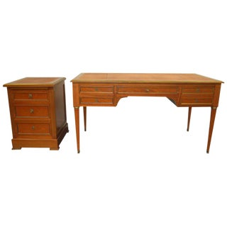 Louis XVI Style Mahogany Desk With Matching Cabinet - 2 Piece Set For Sale