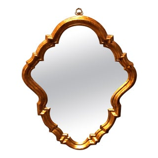 Antique French Rococo Stylized Shield Form Giltwood Wall Mirror, circa 1920 For Sale
