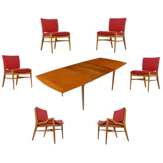 John Keal for Brown-Saltman Mahogany Extendable Dining Table and Six Chair Set For Sale
