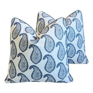 """Martyn Lawrence Bullard Blue Paisley Feather/Down Pillows 21"""" Square - Pair For Sale"""
