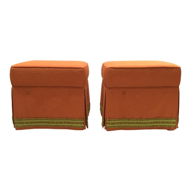 Traditional Custom Peach Ottomans With Decorative Green Band Pair For Sale