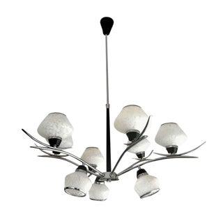 Stilnovo Chandelier Glass Italy Nine Lights, 1970
