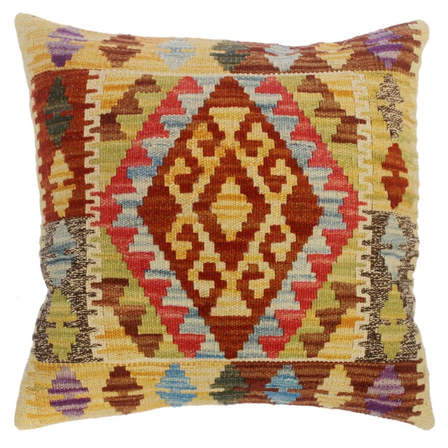 "Christin Gold/Lt. Blue Hand-Woven Kilim Throw Pillow(18""x18"") For Sale In New York - Image 6 of 6"