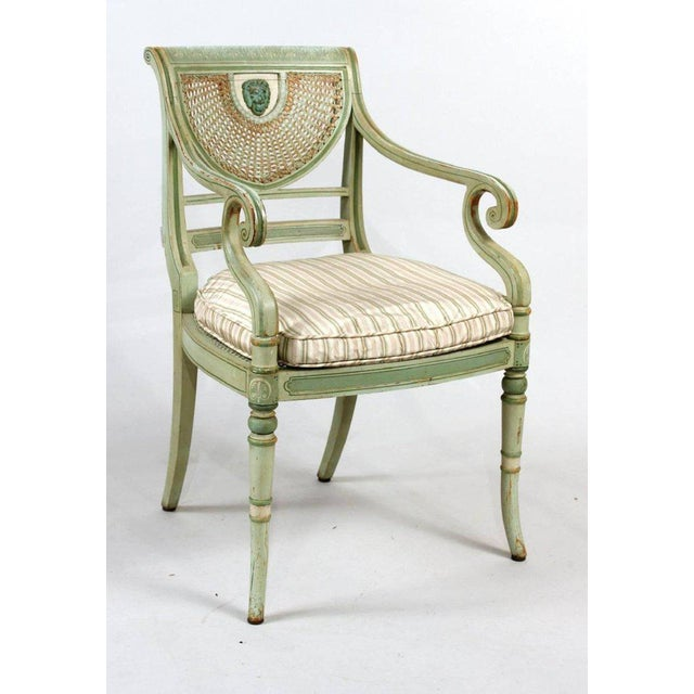 Set of Four 19th Century Painted Regency Style Neoclassical Armchairs - Image 4 of 10