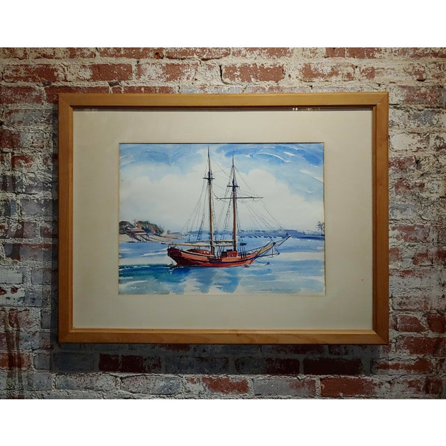 Virgene Hawthorne - Red Sail Boat Resting at Bay - 1950s Painting For Sale - Image 9 of 9