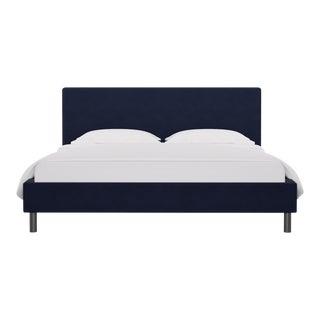 California King Tailored Platform Bed in Navy Velvet For Sale