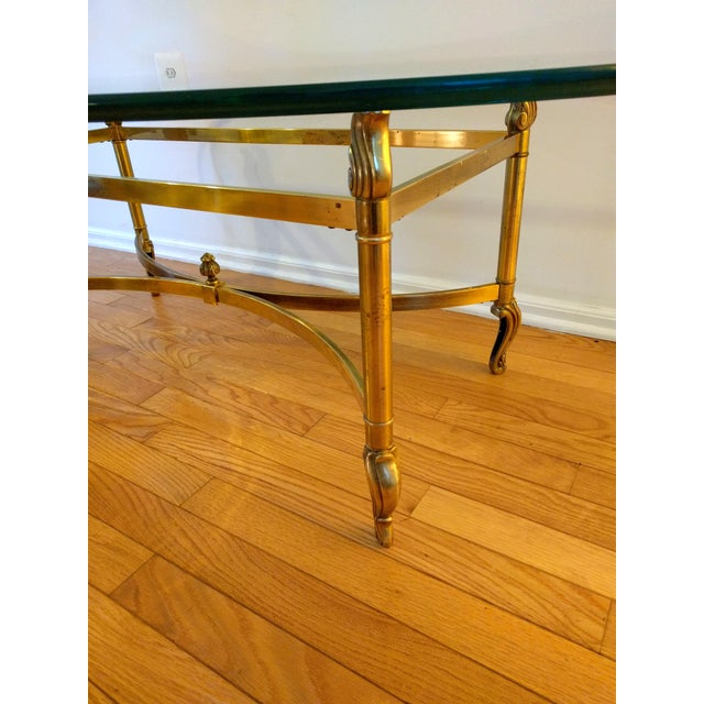 Hollywood Regency La Barge Style Solid Brass and Glass Coffee Table For Sale In New York - Image 6 of 7