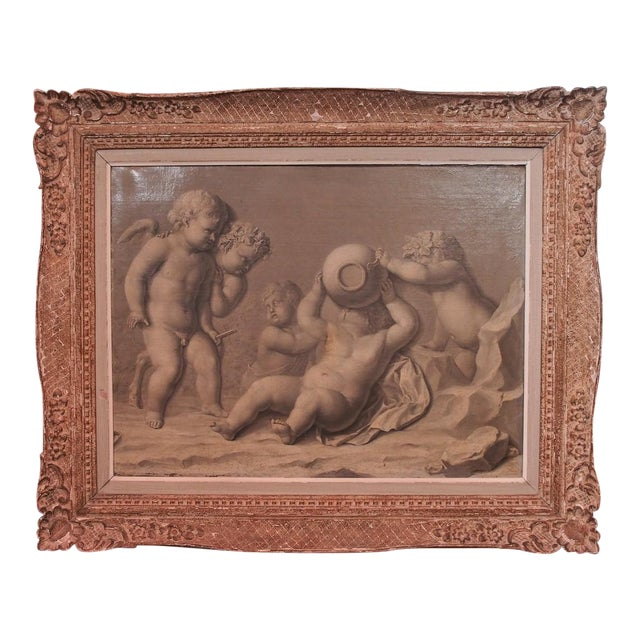 18th Century Framed French Grisaille Painting on Canvas For Sale