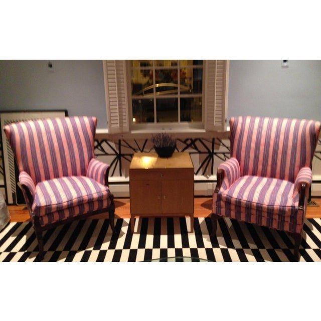 Antique Chairs With John Robshaw Vintage Stripe Cora Fabric - a Pair For Sale - Image 12 of 13