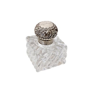 1929 English Sterling Silver & Crystal Perfume For Sale