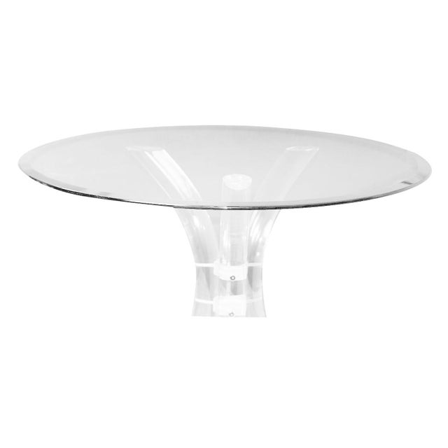 Charles Hollis Jones Style Mid Century Glass Lucite Dining Table by Hill Mfg. For Sale - Image 9 of 10
