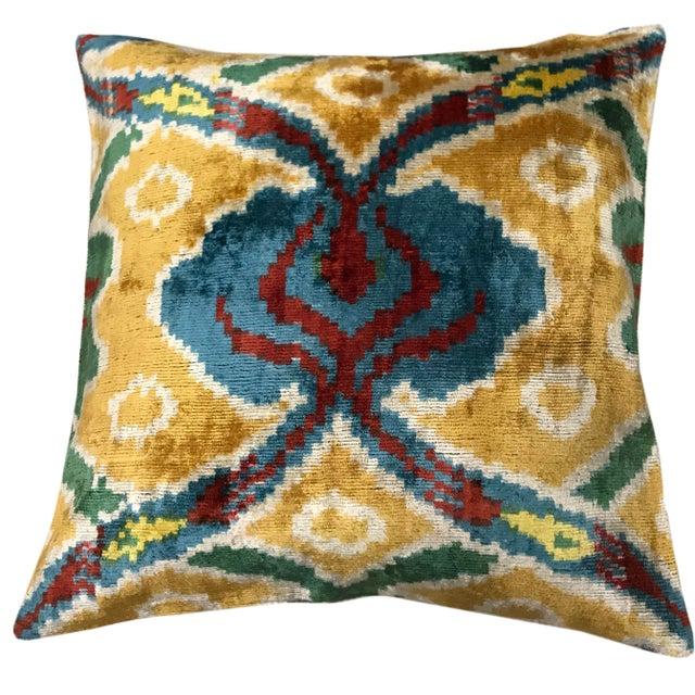 Contemporary Silk Uzbek Ikat Velvet Hand Made Square Pillow Cushion,19x19 For Sale - Image 3 of 3