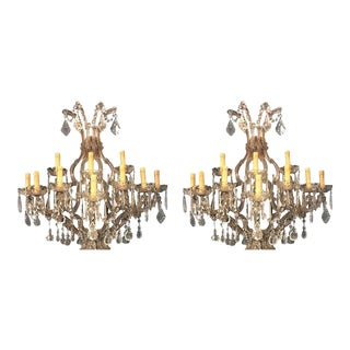 Venetian Crystal Ten Lights Wall Sconces circa 1940 - a Pair For Sale
