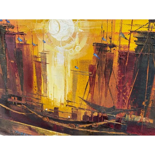 Modern 1970s Modernist Naval Scene Oil Painting by Roald Hansen, Framed For Sale - Image 3 of 5