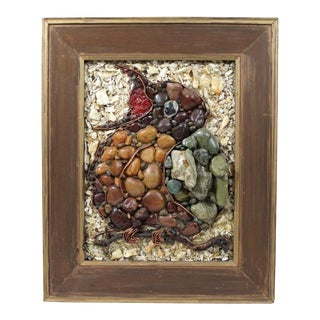 Mid-Century Beach Pebble Assemblage Portrait of a Robin For Sale
