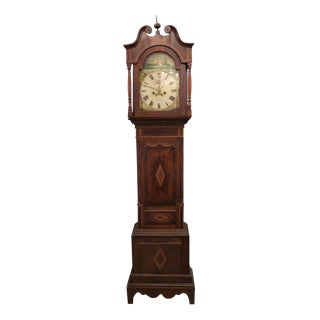 Early 1800s English Grandfather Tall Case Clock For Sale