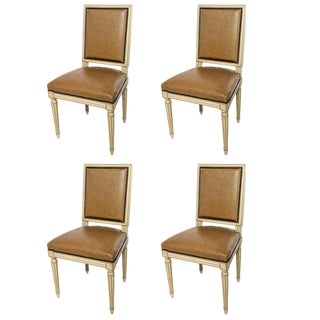 Set of Four Square Back Louis XVI Dining Chairs Covered in a Tan Leather For Sale