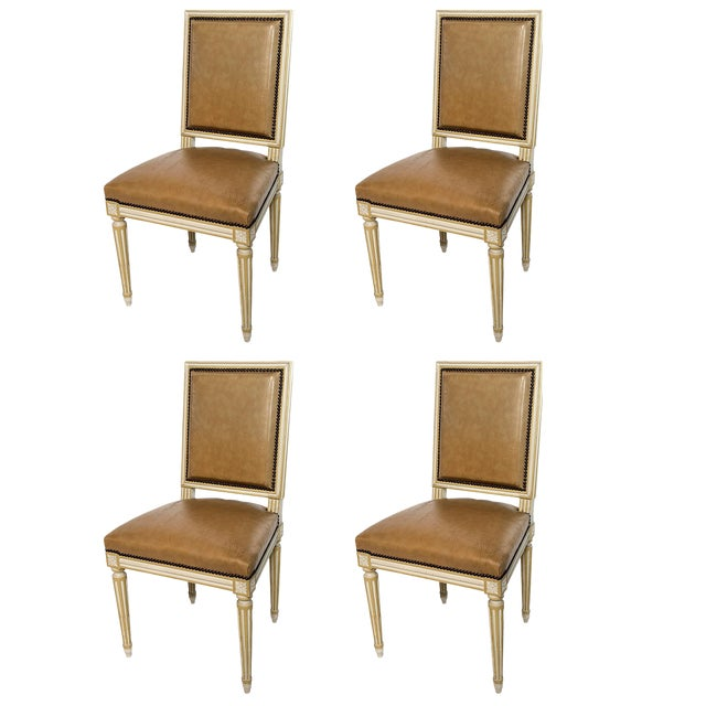 Square Back Louis XVI Dining Chairs Covered in a Tan Leather - Set of 4 For Sale