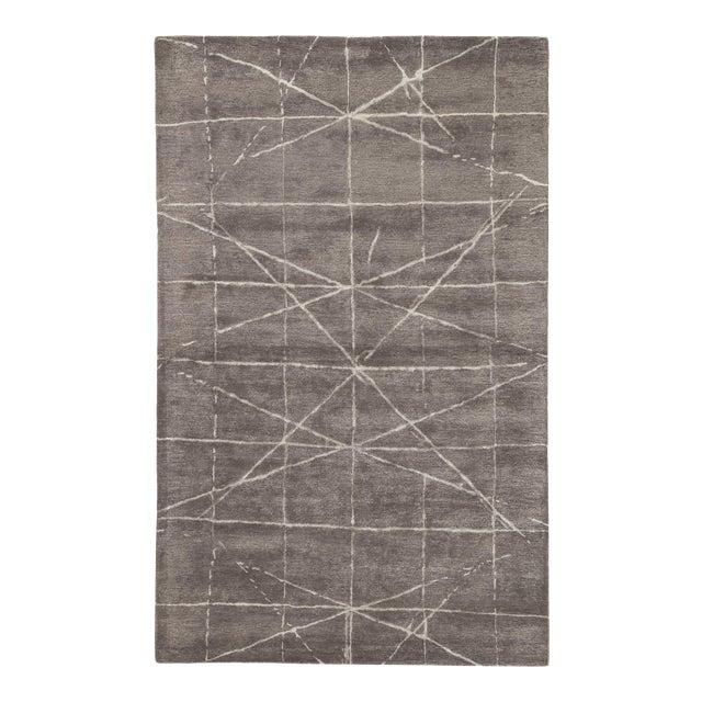 Jaipur Living Duval Handmade Geometric Dark Gray/ Silver Area Rug - 5' X 8' For Sale