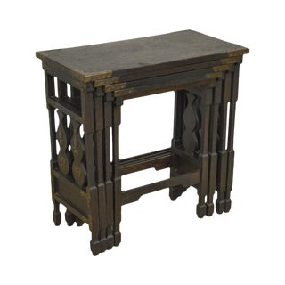 Arts & Crafts Antique Oak Asian Inspired Nesting Tables For Sale