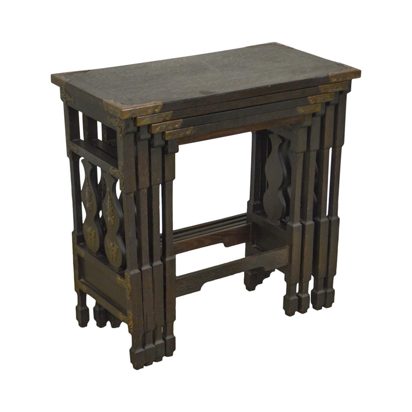 Arts U0026 Crafts Antique Oak Asian Inspired Nesting Tables