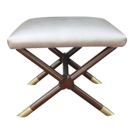 X-Base Ottoman in Faux Shagreen Leather - Image 1 of 5