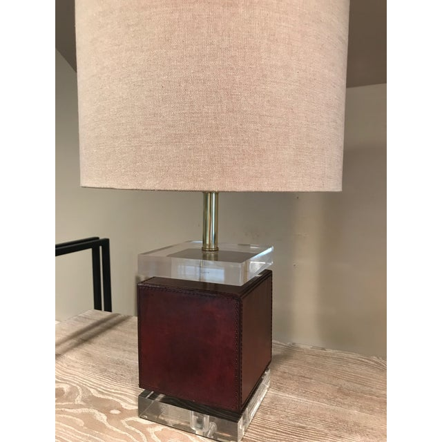 Ambassador Table Lamp - Brown Leather Base For Sale - Image 4 of 5