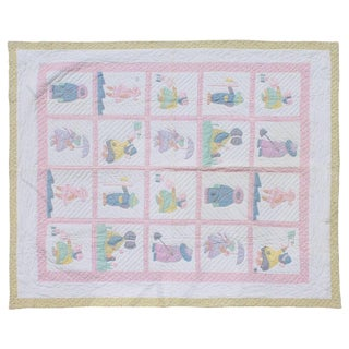 Sunbonnet Sue Applique Quilt, 1940's For Sale