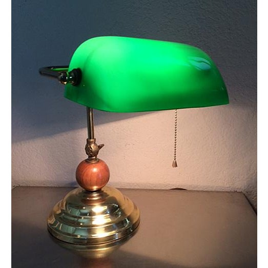 Vintage Brass & Emerald Green Glass Bankers Desk Lamp For Sale In Phoenix - Image 6 of 11