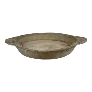 Mid 20th Century Vintage Indian Wooden Dough Bowl For Sale