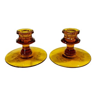 Antique Victorian Amber Glass Reverse Etched Candlestick Holders - a Pair For Sale