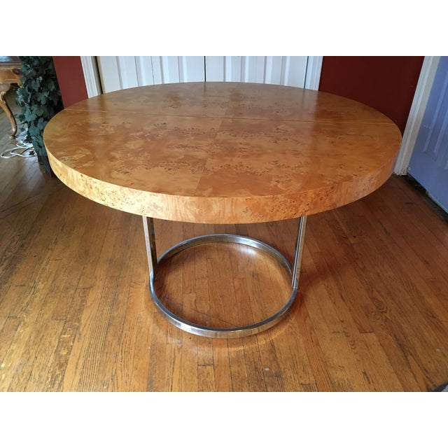 Mid-Century Milo Baughman Burled Wood Dining Table - Image 2 of 10