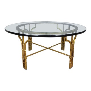Hollywood Regency Faux Bamboo & Glass Coffee Table For Sale