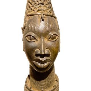 """Lg Benin Bronze Queen Mother Head Nigeria African 32.25"""" H Preview"""
