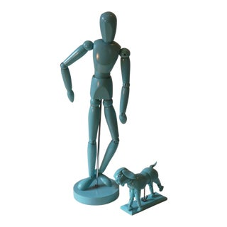 Blue Wooden Artist Models of Person and Dog