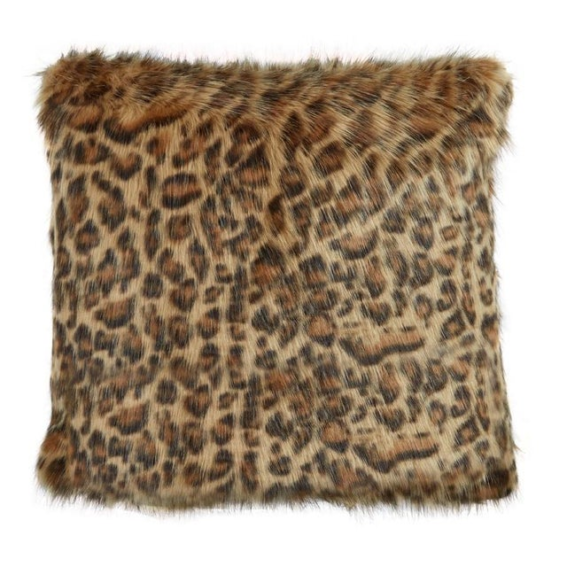 Leopard printed faux fur pillow. Back is same as front. 95% Feather 5% Down Insert. Made in the USA