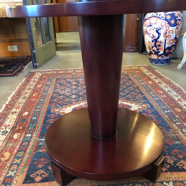 Brown 1980s Traditional Swaim Furniture Two-Tiered Round Center Table For Sale - Image 8 of 10