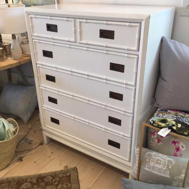 "Vintage Thomasville Faux Bamboo Tall Dresser with 6 drawers, painted white / 38"" W x 19.5"" D x 49.5"" H / Such a great..."