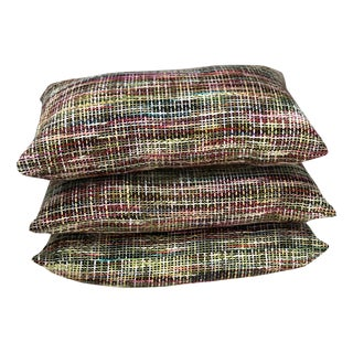 Designer Pastel Woven Fiber Weave Lumbar Accent Pillows - Set of 3 For Sale
