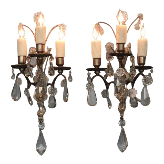 Pair of Mid-19th Century Italian Baroque Silvered Bronze and Crystal Sconces For Sale