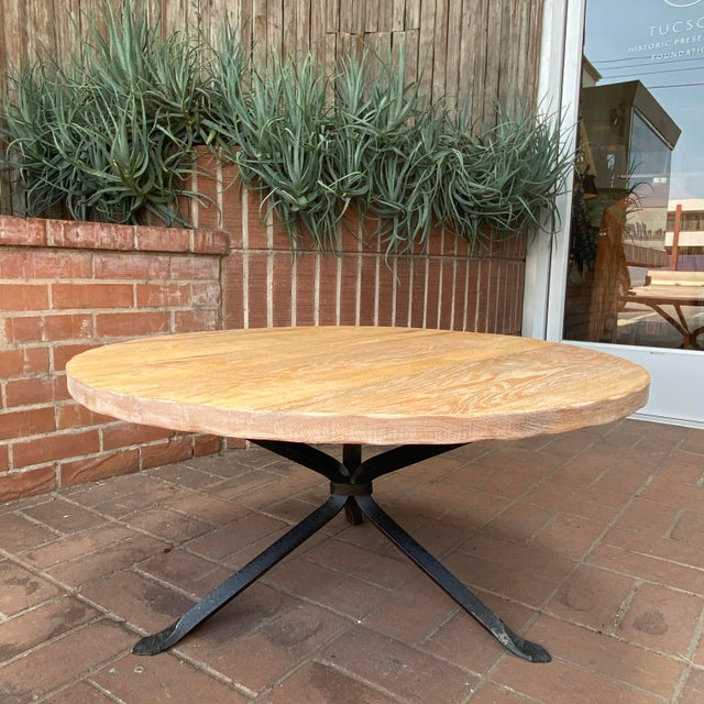Mid-Century Modern Cleo Baldon Wrought Iron and Whitewashed Oak Coffee Table For Sale - Image 3 of 12