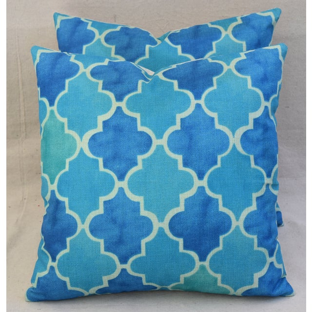 BoHo Chic Moroccan Tiles Linen Feather/Down Pillows - Pair - Image 9 of 11