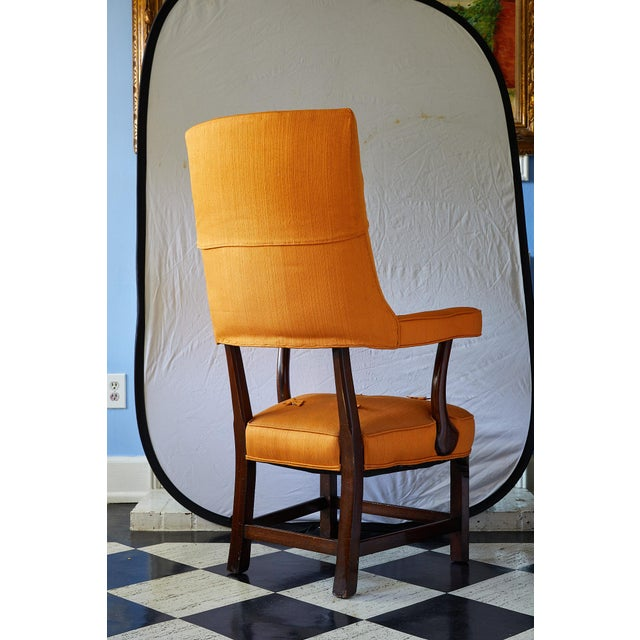 English Early 20th Century Mahogany Arm Chair in Vintage Orange Upholstery For Sale - Image 3 of 13
